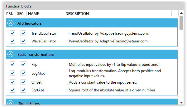 Function Block Selection
