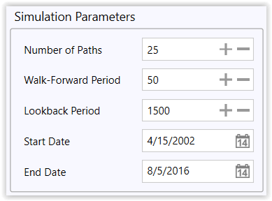Figure 5. Single-Scenario Simulation Parameters