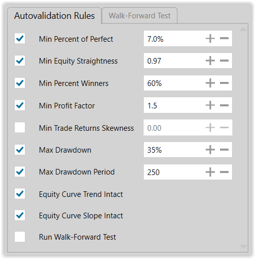 Figure 10. Autovalidation Rules for Exploratory Modeling Run