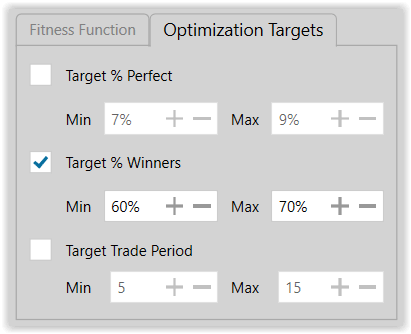 Figure 13. Optimization Targets for Production Modeling Run