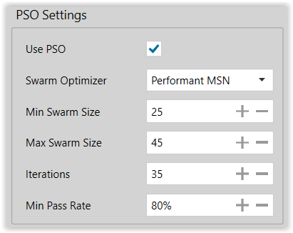 Figure 14. Production Modeling Run PSO Settings