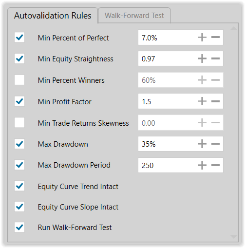 Figure 15. Autovalidation Rules for Production Modeling Run