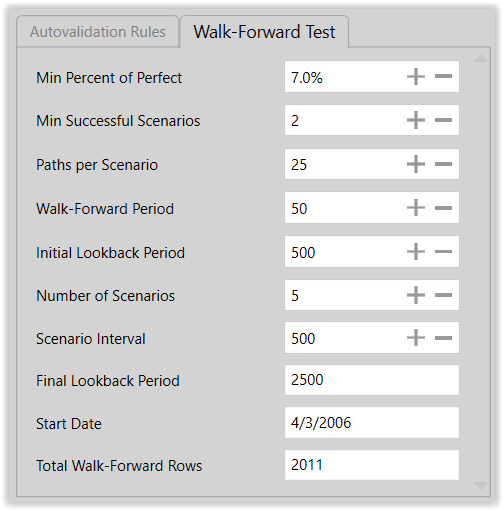 Figure 16. Production Modeling Run Walk-Forward Test Settings
