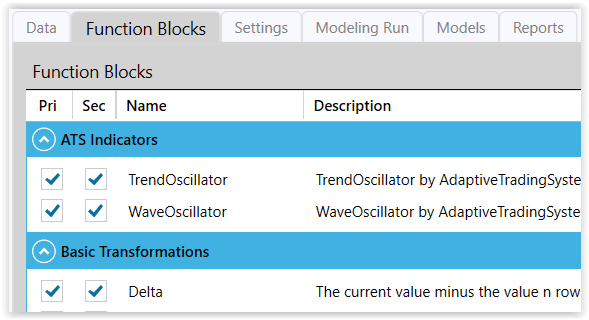 Figure 2. Function Blocks for Exploratory Modeling Run