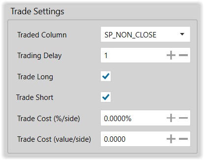 Figure 3. Trade settings for Exploratory Modeling Run