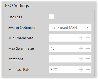 Figure 8. PSO Settings for Exploratory Modeling Run