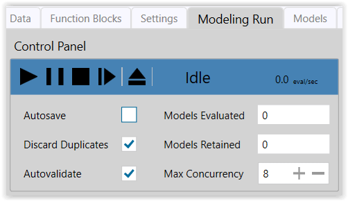 Figure 9. Control Panel settings for Exploratory Modeling Run